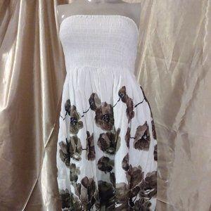 Cristinalove White Flowered Strapless Sundress